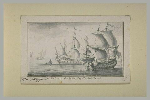 Marine avec deux vaisseaux de guerre au premier plan