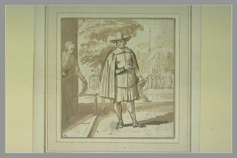 Le 'Aanspreker' parlant à une servante, avec au fond un cortège funèbre