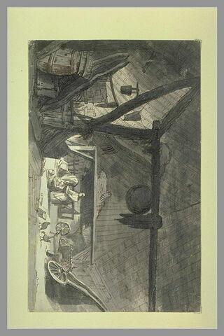 Deux figures à l'intérieur d'une grange