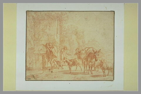 Un pâtre s'abreuvant à une fontaine, avec son troupeau et un autre pâtre
