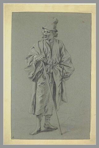 Etude d'homme debout, coiffé d'un haut chapeau