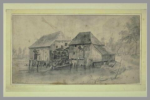 Vue d'un moulin à double roue à aube, en bois, sur les bords d'un canal