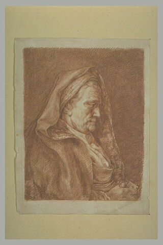 Portrait d'une vieille femme, en buste, de profil à droite