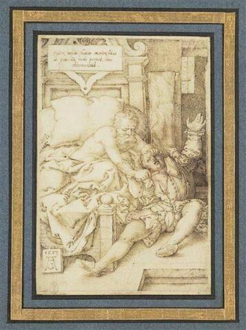 Le Comte Archambault malade, égorgeant son fils avant de mourir