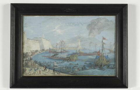 Vue du port de Naples et du Vésuve en éruption