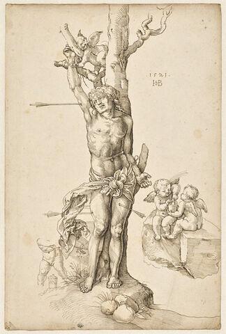 Des anges délivrant saint Sébastien attaché à un arbre