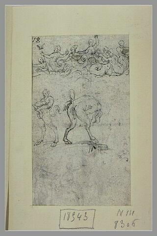 Le triomphe de Neptune, un satyre en Priape, une sorcière