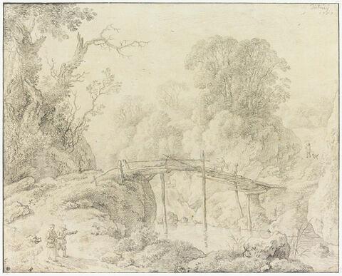 Paysage, bois et ruisseau, avec une passerelle, et des personnages