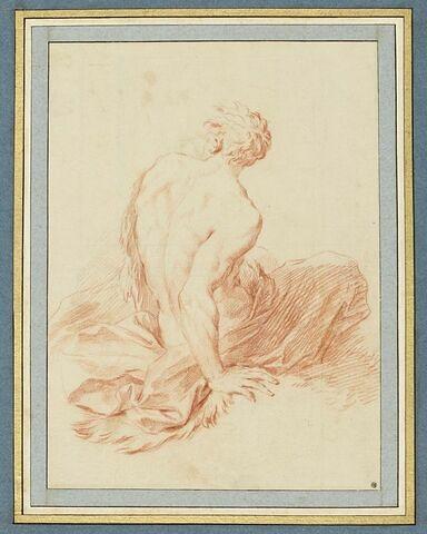 Figure d'homme nu, assis, de dos