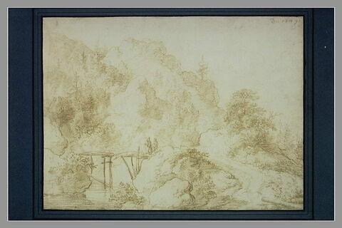 Paysage de montagne, avec ruisseau et passerelle et deux personnages
