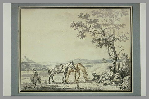 Paysage avec deux personnes endormis, deux chevaux, deux chiens