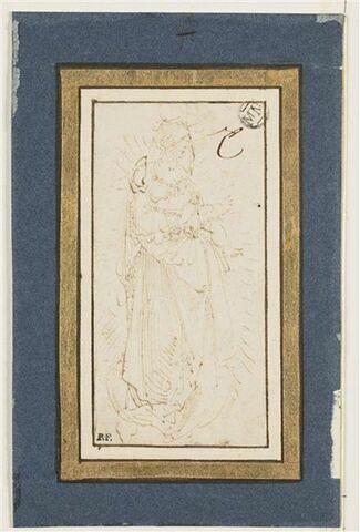 Vierge à l'Enfant de trois-quart, sur un croissant de lune, en gloire