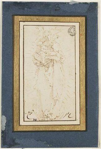Vierge à l'Enfant de face sur un croissant de lune