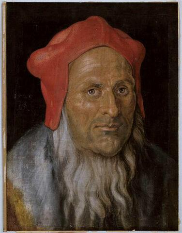 Tête de vieillard coiffé d'un bonnet rouge