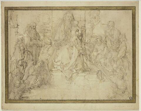 Vierge à l'Enfant en majesté, au milieu de saints et d'anges