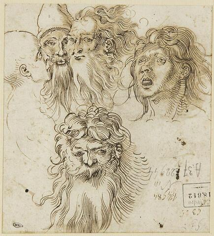 Cinq études de têtes d'hommes