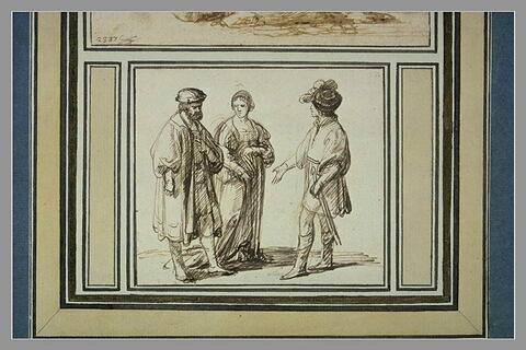 Deux hommes et une femme debout