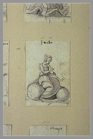 Erato, muse de l'Hyménée et de la Poésie érotique, assise sur un globe