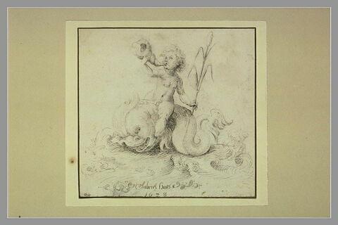 Enfant-triton à cheval sur un dauphin