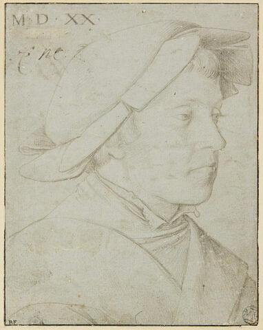 Buste de jeune homme, la tête couverte d'un bonnet plat à bords rabattus