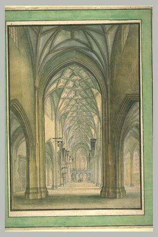 Vue perspective de l'intérieur du Münster de Berne