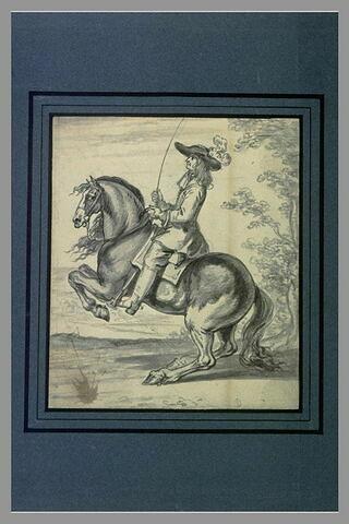 Un cavalier une cravache à la main, son cheval se cabre