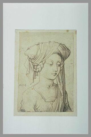 Buste de jeune fille, de trois quarts vers la droite, coiffée d'un turban