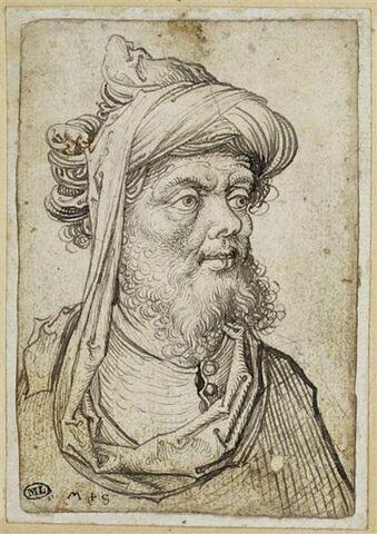 Buste d'homme coiffé d'un turban