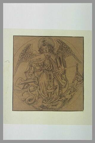 L'archange saint Michel foulant aux pieds le démon et pesant une âme