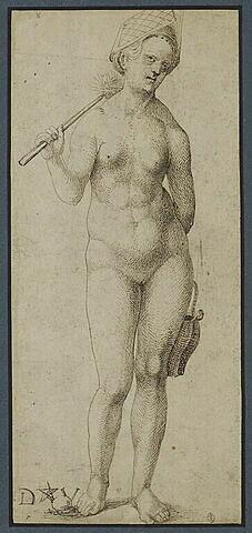 Une baigneuse, tenant une brosse et un petit seau