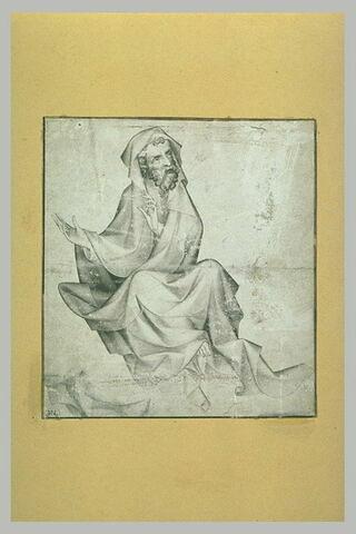 Prophète assis sur les nuages, vu de face et regardant à droite