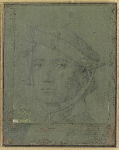 Tête de jeune homme, coiffée d'un bonnet s'attachant sous le menton