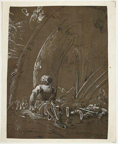Un guerrier assis et un autre couché, comme un mort, au pied de rochers
