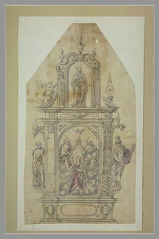 Projet de rétable avec un Couronnement de la Vierge et des saints