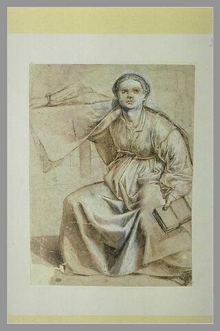 La Muse Clio, de face, assise, tenant dans sa main gauche un livre ouvert