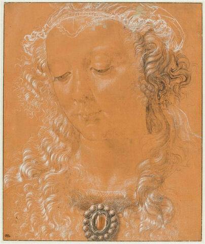 Tête de femme, les yeux baissés, légèrement tournée vers la gauche