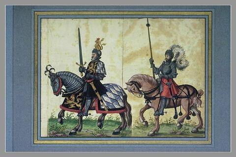 Un seigneur sur un cheval caparaçonné et un écuyer