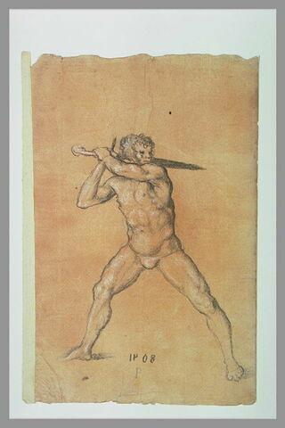 Homme nu, brandissant une épée