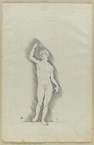 Académie d'homme debout, main droite au-dessus de la tête
