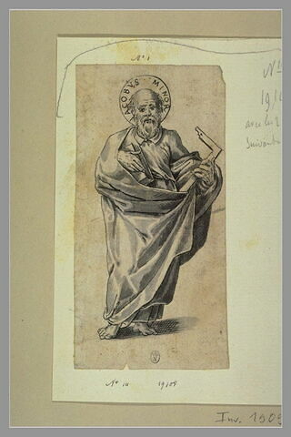 Saint Jacques le Mineur tenant un livre et une équerre
