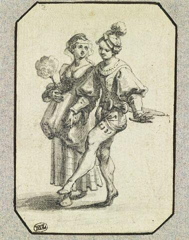 Une femme tenant un éventail, donnant la main à un danseur