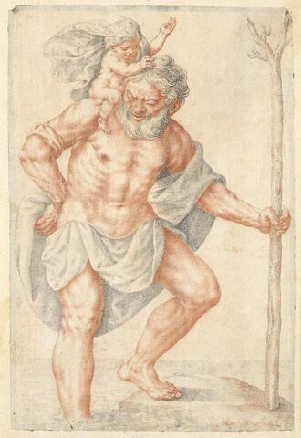 ,Saint Christophe traverse le fleuve avec l'Enfant Jésus sur ses épaules