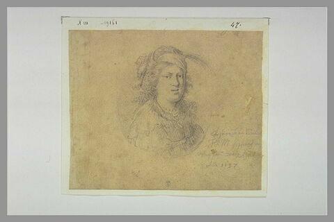 Portrait de jeune femme, en buste, coiffée d'un turban orné d'une aigrette