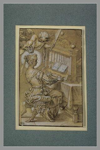 Sainte Cécile jouant de l'orgue et couronnée par un ange