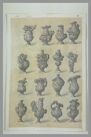 Seize études de vases