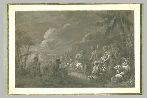 Un jeune berger jouant du hautbois parmi d'autres bergers et bergères