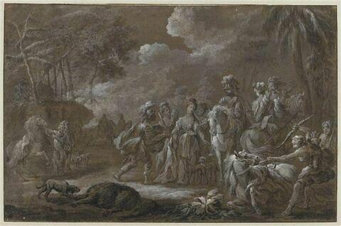 Atalante et Méléagre devant le sanglier de Calydon