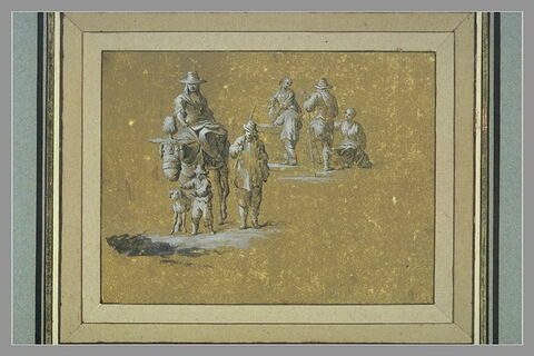 Sept figures, une mule et un chien