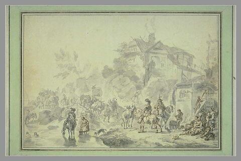 Convois et voyageurs sur une route, à la sortie d'un village