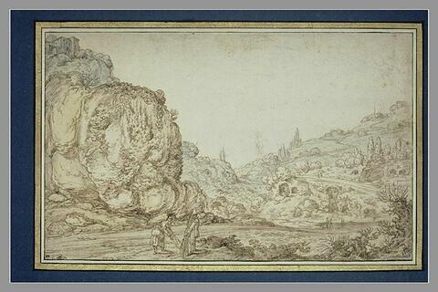 Vallée, un chemin serpentant sur le flanc d'une colline, et deux figures
